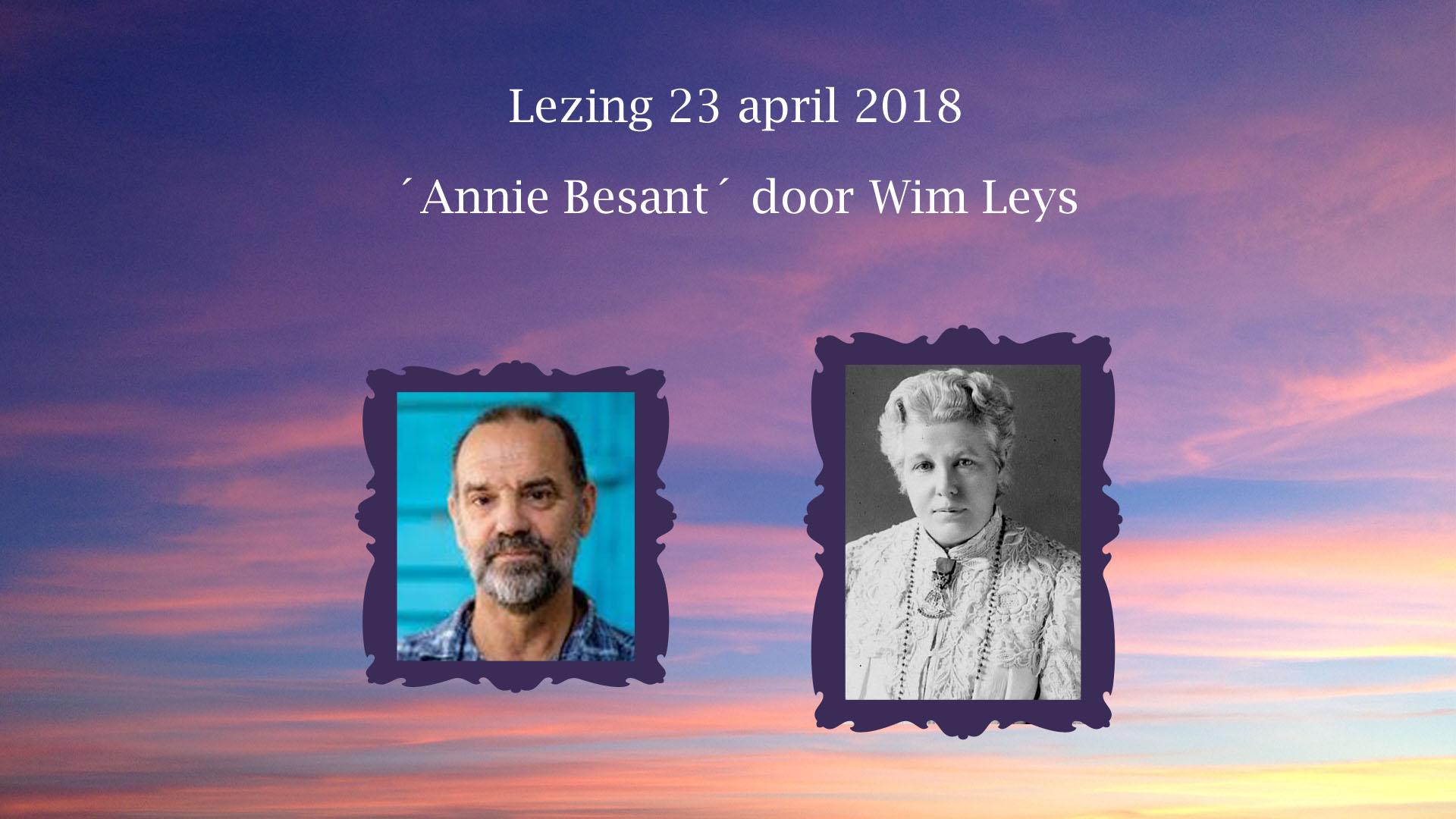 Lezing Annie Besant door Wim Leys in Loge Den Haag